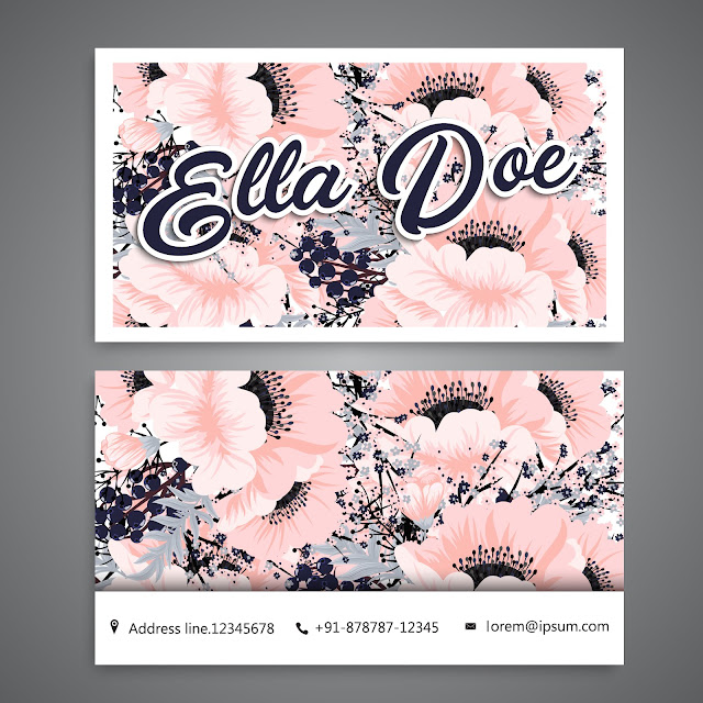 Free Floral Girl Boss Business Card - Printable Pink and Navy