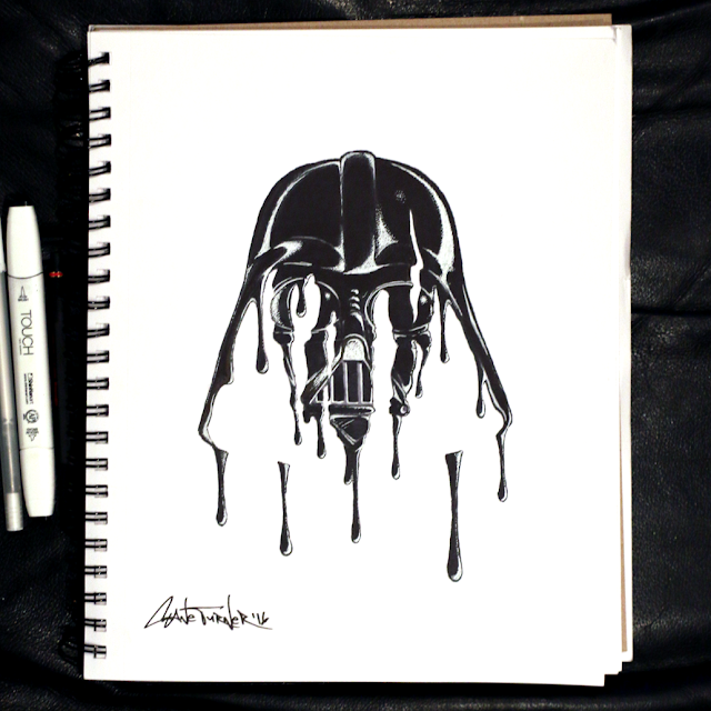 Drawing of Darth Vader helmet / mask , created out of dripping black liquid. Star wars artwork made with black and white ink on paper by Shane Turner.