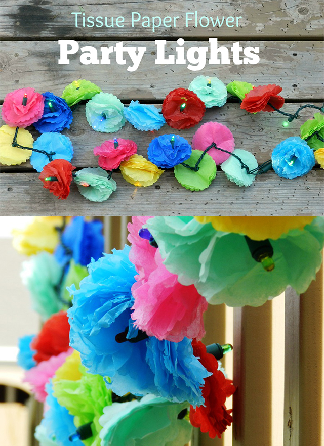Tissue Paper Flower Party Lights Tutorial by Elise Engh Studios