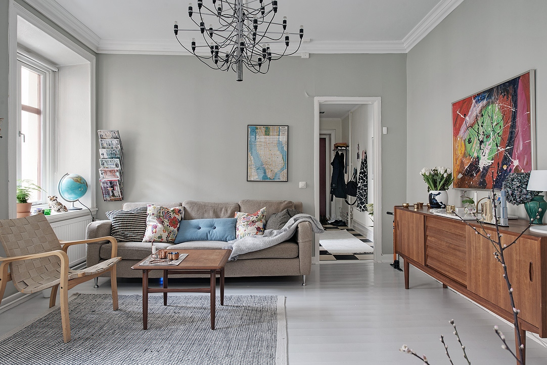 biała podłoga, biała podłoga z desek, salon w stylu skandynawskim