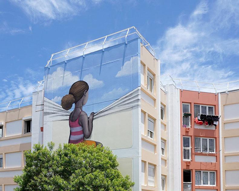 Artista callejero viaja por el planeta para cambiar monótonos edificios en colorido arte