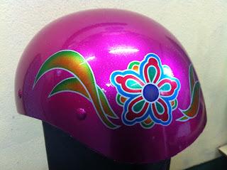1571117031 - カスタムペイント工程  ダックテールヘルメット 花柄