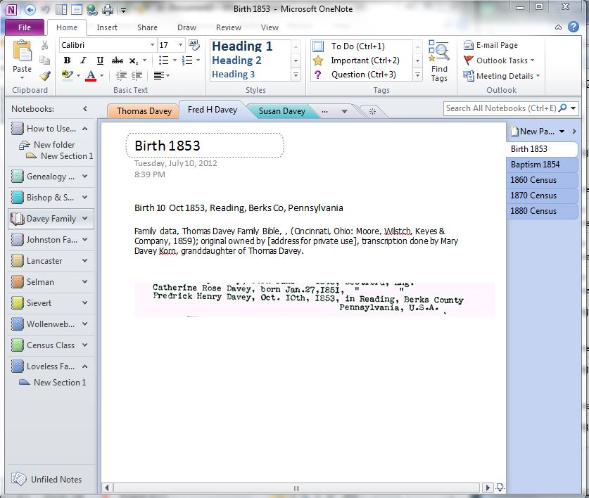 My Trails into the Past: Using OneNote to Create a Genealogy