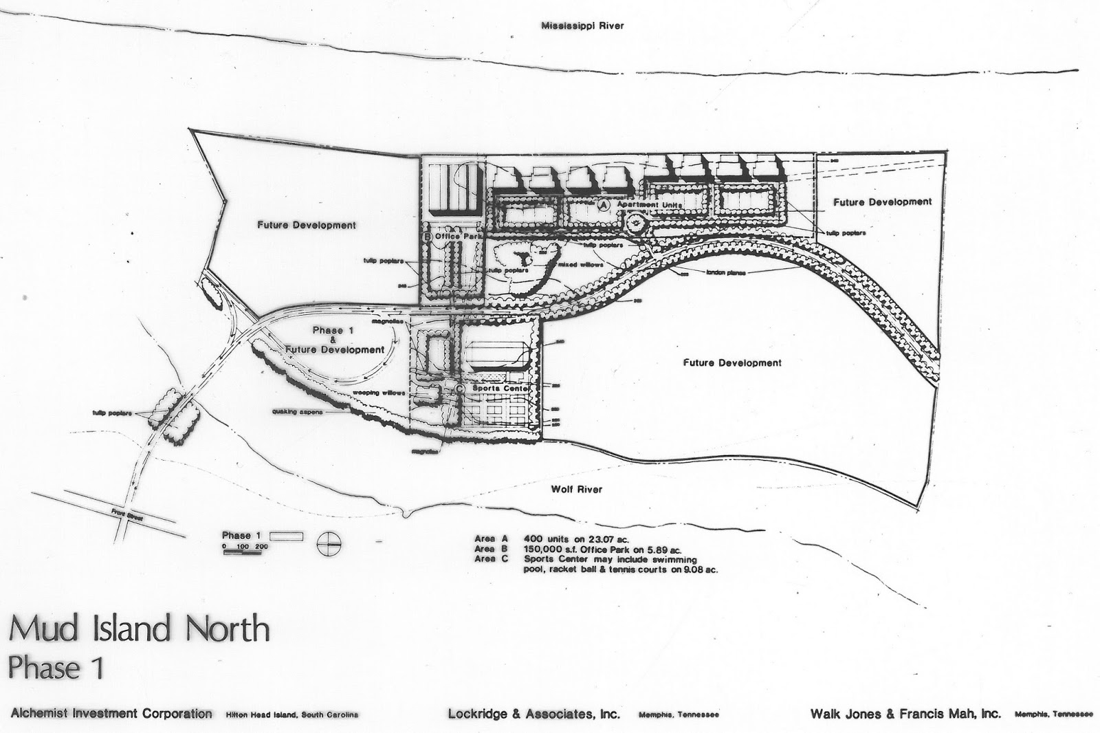 in 1982 the same year the mud island park opened at the south end of the island this proposal was presented to the memphis and shelby county land use