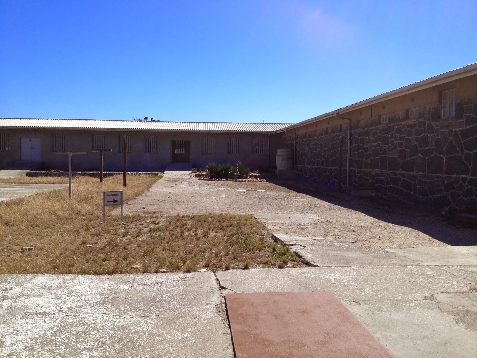 Robben Island - Prison courtyard next to Nelson Mandela's cell