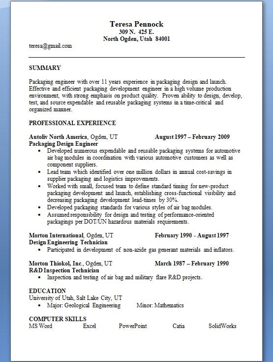 Packaging Design Engineer Sample Resume Format in Word Free Download - Packaging Engineer Sample Resume