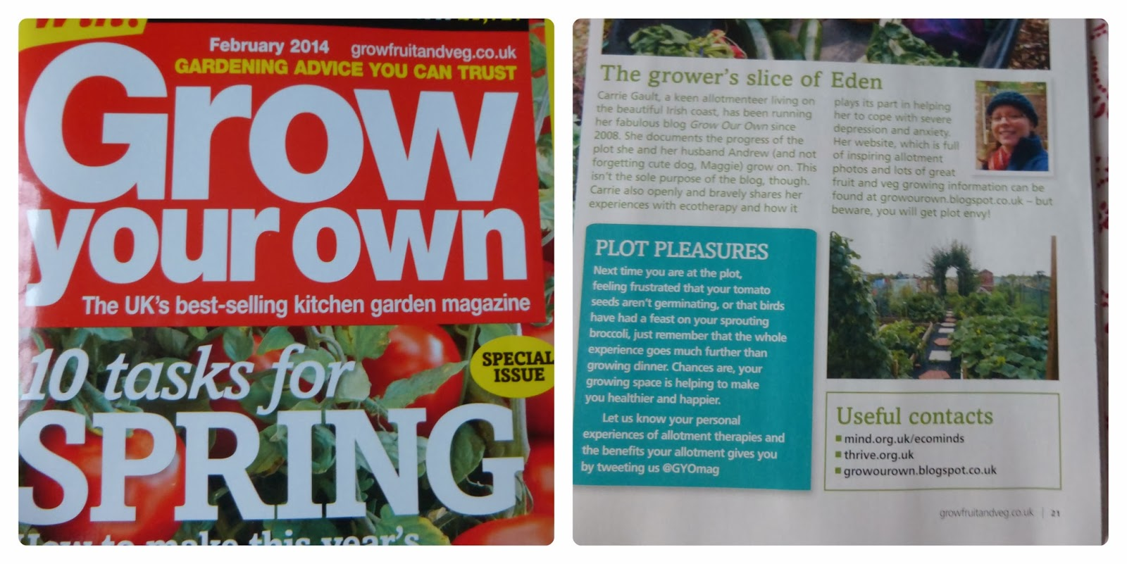 Me on Ecotherapy in Grow your own magazine - Grow Our Own Allotment Blog