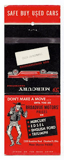 Match box advert by Broadvue Motors, Cleveland Ohio