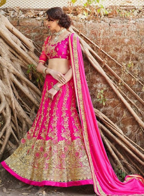 attractive-pink-designer-bridal-lengha-choli-in-net