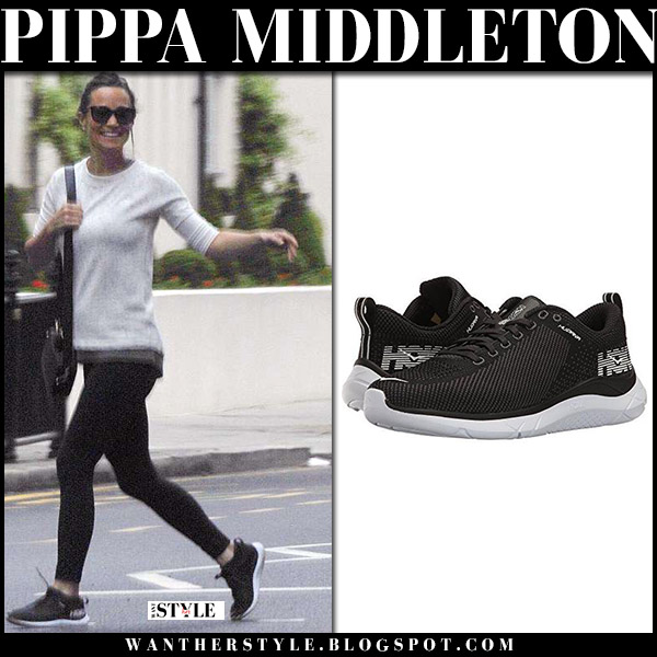 Pippa Middleton in grey sweatshirt, black leggings and black sneakers hoka street style may 25