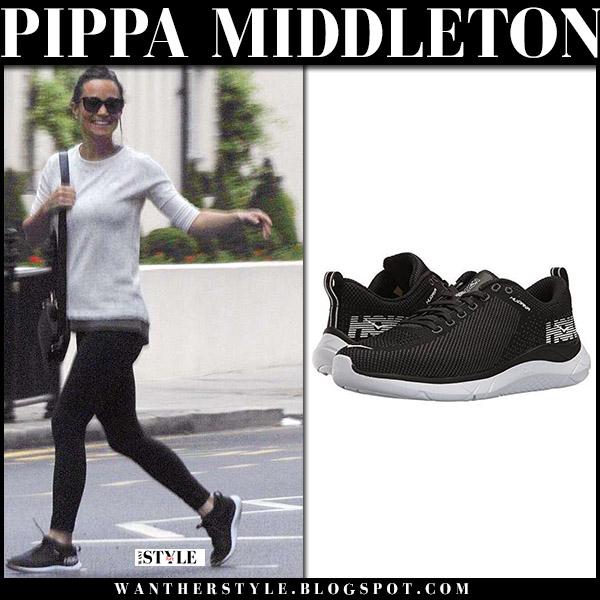 Pippa Middleton in grey sweatshirt, black leggings and black sneakers hoka street style may 25