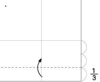 Bước 2: Gấp 1/3 của nửa tở giấy bên dưới lên phía trên.