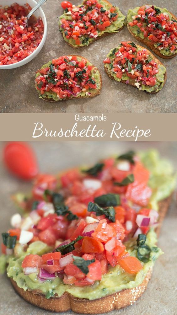 BRUSCHETTA RECIPE WITH GUACAMOLE #bruschetta #bruschettarecipes #guacamalo #lunchideas #lunchrecipes