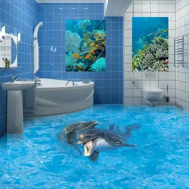 3D bathroom floor: murals dolphins on the floor