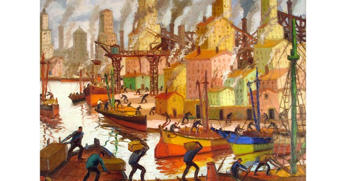 """ARTE ARTE ARTE: """"ELEVADORES A PLENO SOL"""". Benito Quinquela Martín. 1945"""