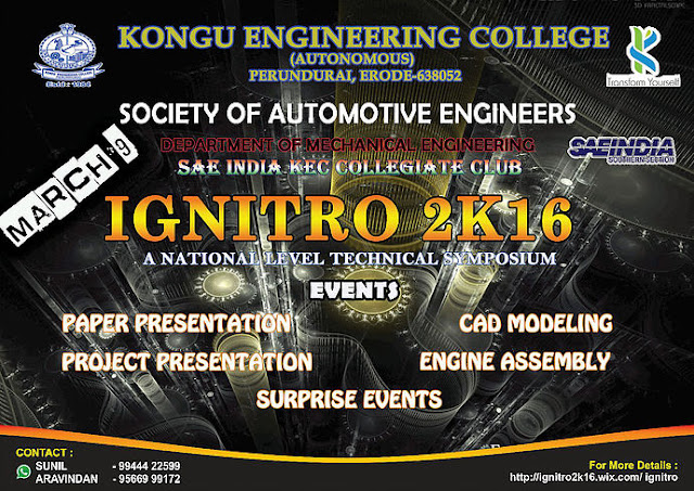 IGNITRO 2K16: A Technical Symposium at Kongu Engineering College, Erode