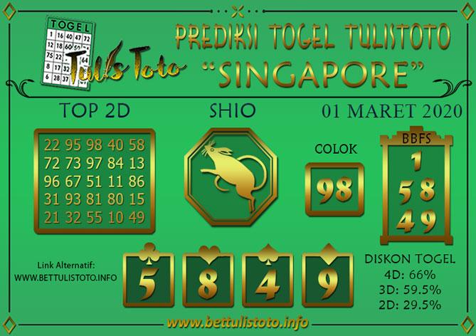Prediksi Togel SINGAPORE TULISTOTO 01 MARET 2020