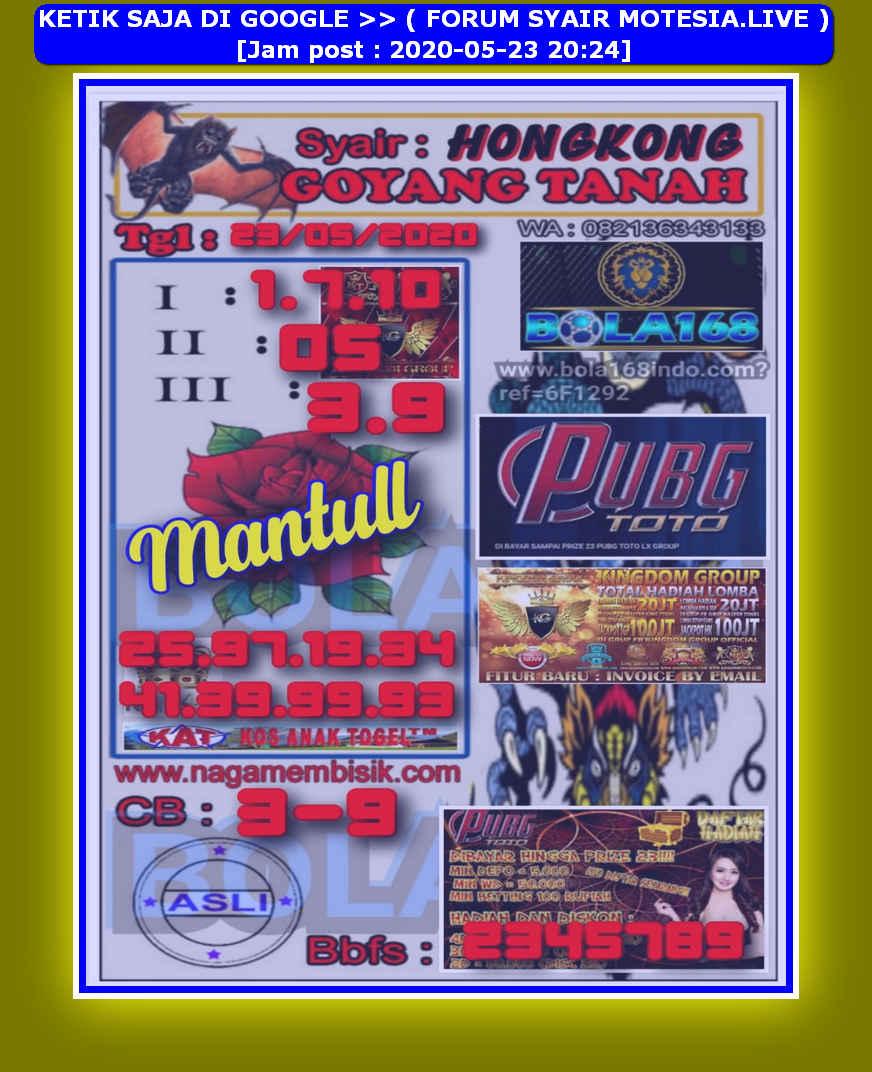 Kode syair Hongkong Sabtu 23 Mei 2020 20