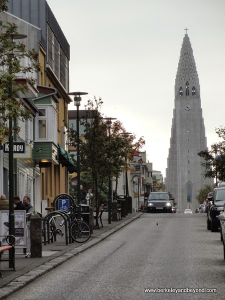 Skolavordustigur with view of Hallgrimskirkja church, Reykjavik, Iceland