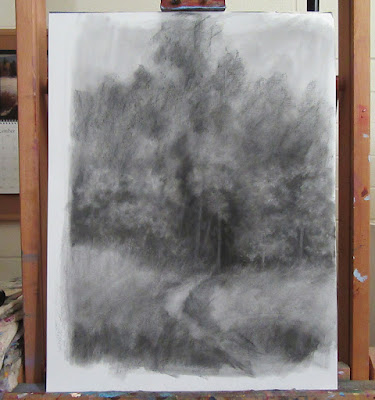 art drawing charcoal WIP forest nature tree