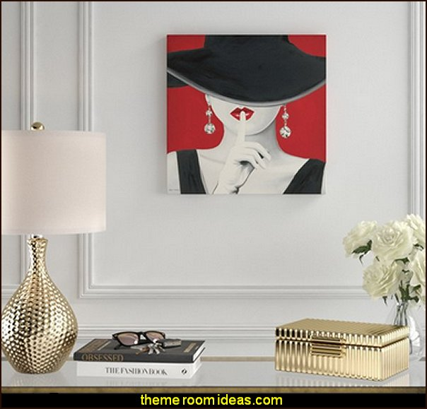 'Black, White and Red Diamond Earring Fashionista' Graphic Art Print on Canvas