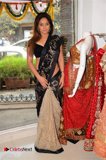 Actress Neetu Chandra Stills in Black Saree at Designer Sandhya Singh's Store Launch  0065.jpg