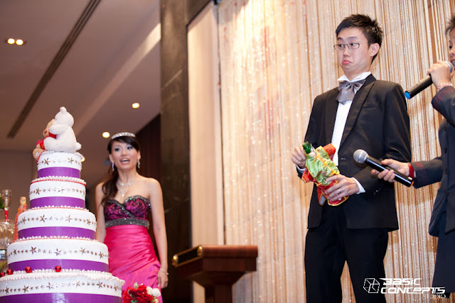 bride astonished, smiling