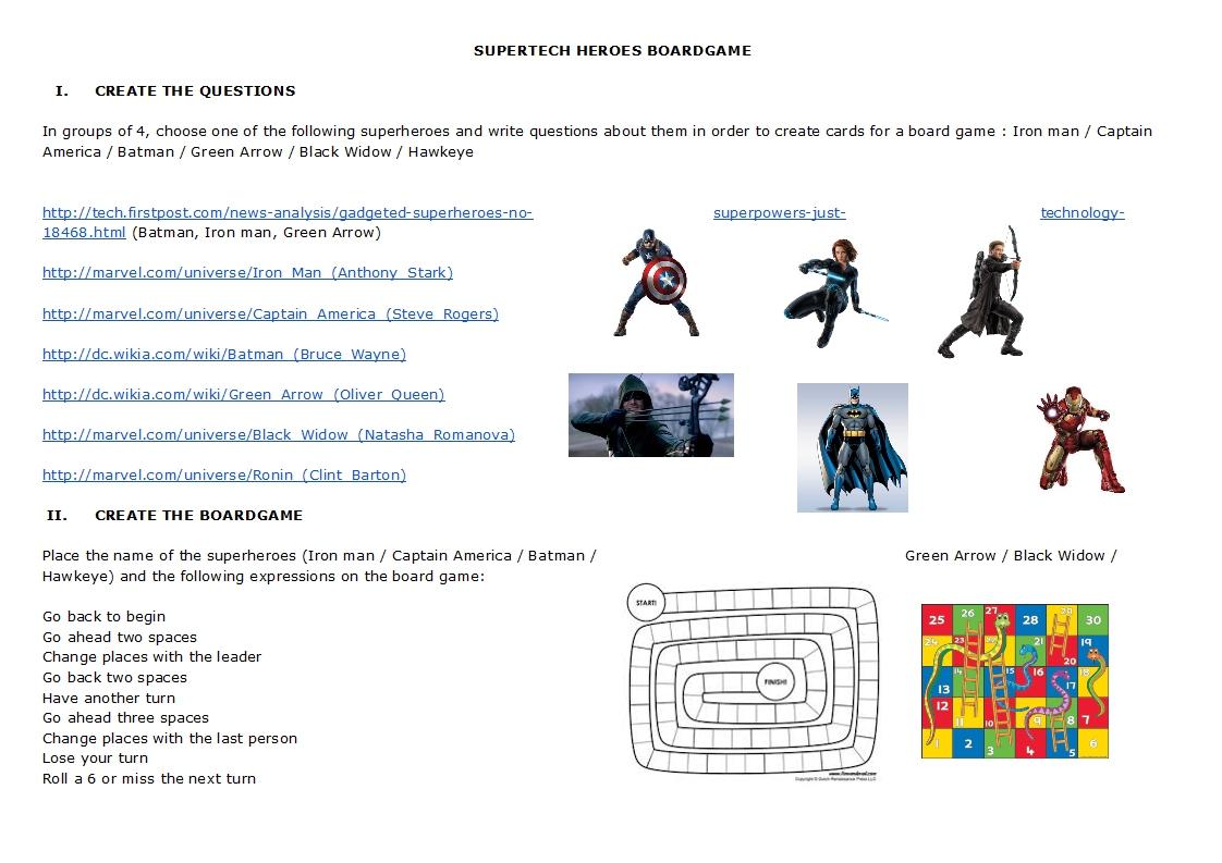 Teaching Technical English Superheroes Web Quest Reading