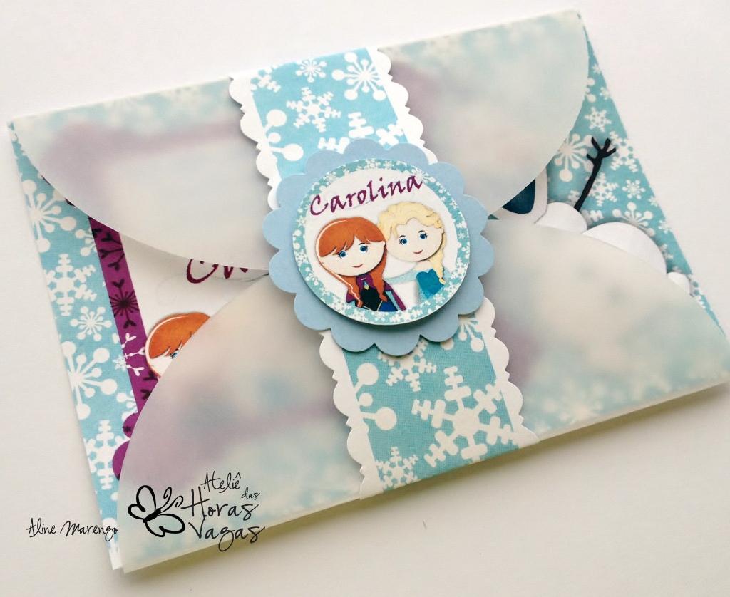 convite aniversário infantil artesanal frozen aventura congelante gelo neve azul anna elsa olaf menina let go