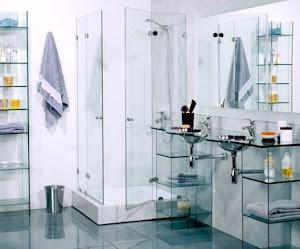 Decoración con cristal para baños