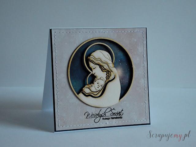kartka świąteczna, kartka z Maryją, kartka z Jezuskiem