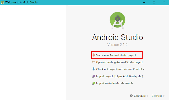 New Android Studio Project, Android Studio