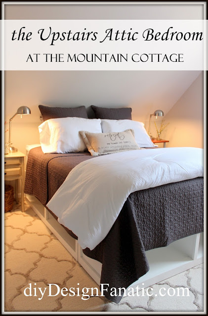 cottage bedroom, Mountain Cottage Reno, diy,  farmhouse, storage bed, small bathroom,  wood shed, pantry storage, build a closet,  wood countertop, open shelves, kitchen reno, diyDesignFanatic