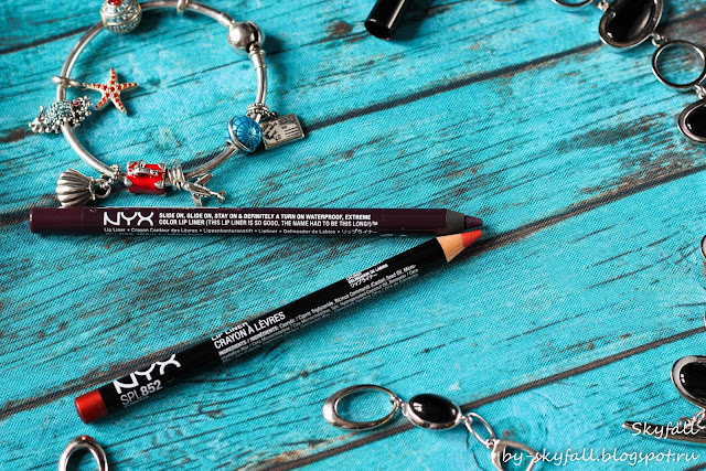 Контурные карандаши NYX: Slim Lip Pencil Pumpkin (SPL852) & Slide On Lip Pencil Nebula (SLLP06)