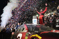 Austin Dillon, driver of the #3 DOW Chevrolet, celebrates in Victory Lane after winning the Monster Energy #NASCAR Cup Series 60th Annual Daytona 500 at Daytona International Speedway
