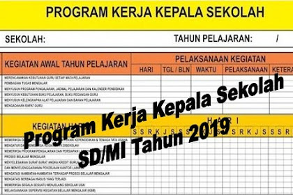Program Kerja Kepala Sekolah SD/MI Tahun 2019