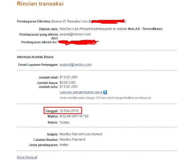 Bukti Pembayaran Neobux Desember 2016