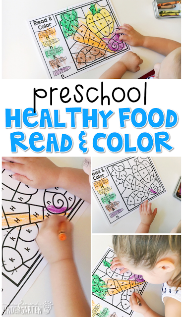 This healthy food read & color activity is perfect for identifying letters and fine motor practice with a health theme. Great for tot school, preschool, or even kindergarten!