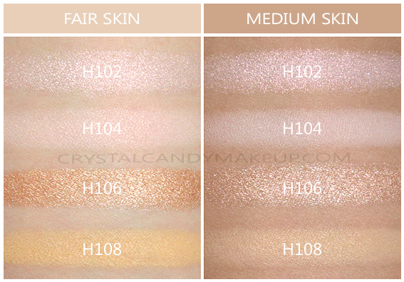Make Up For Ever Lustrous Blush Palette Swatches H102 H104 H106 H108 Fair Medium Skin Tone