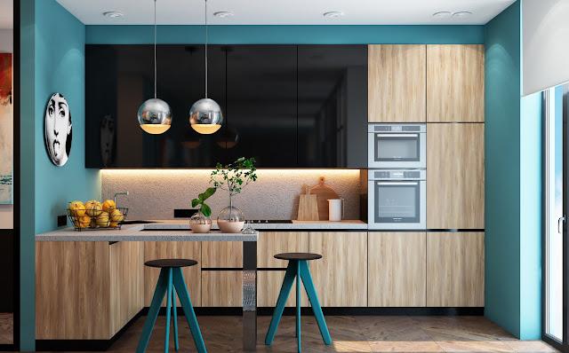 thiết kế nhà bếp tone màu xanh dương