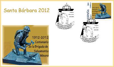 Sobre con el matasellos de la XV Exposición Santa Bárbara de Coleccionismo Minero de Grucomi: Homenaje a la Brigada Central de Salvamento Minero, Sama de Langreo 2012