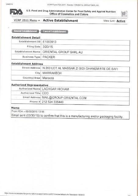 US FDA certificate