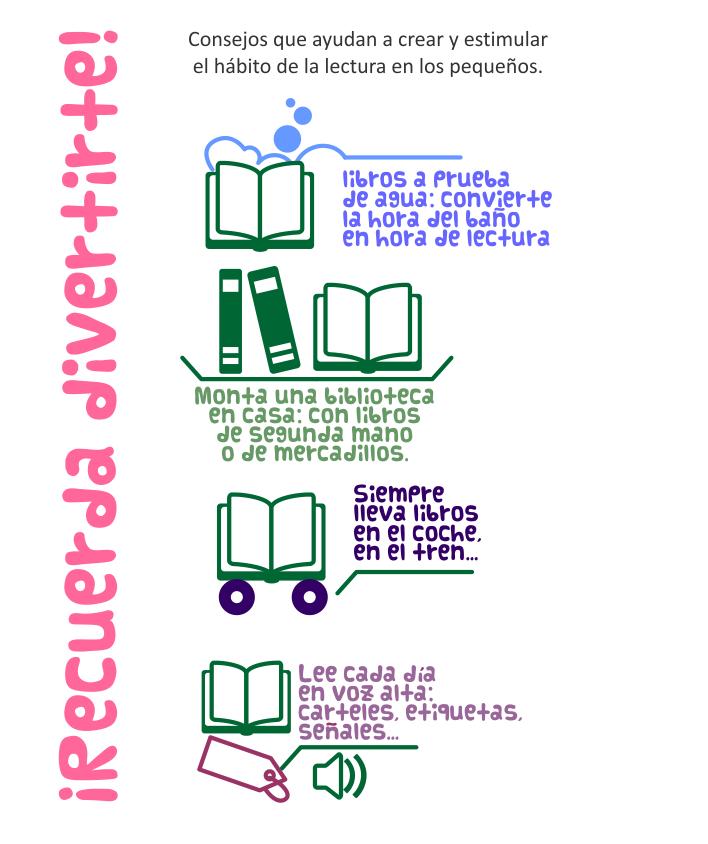 Poster con consejos para estimular y crear el hábito de la lectura en los niños y niñas pequeños