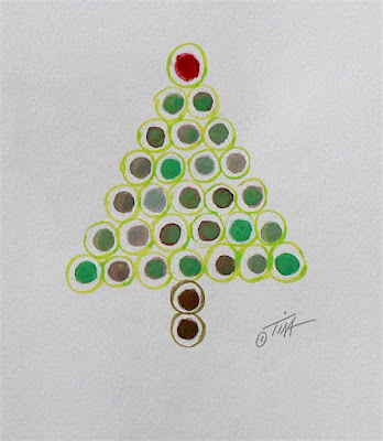 Red and Green dots make a Christmas tree ©2018 Tina M.Welter