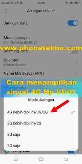 Cara menampilkan jaringan Sinyal 4G di VIVO Y71