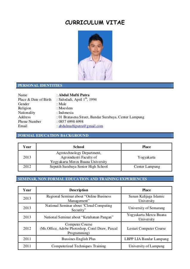 Contoh Daftar Riwayat Hidup  Curriculum Vitae Cv Terlengkap