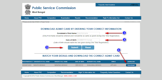 pscwbonline Admit Card for WBCS