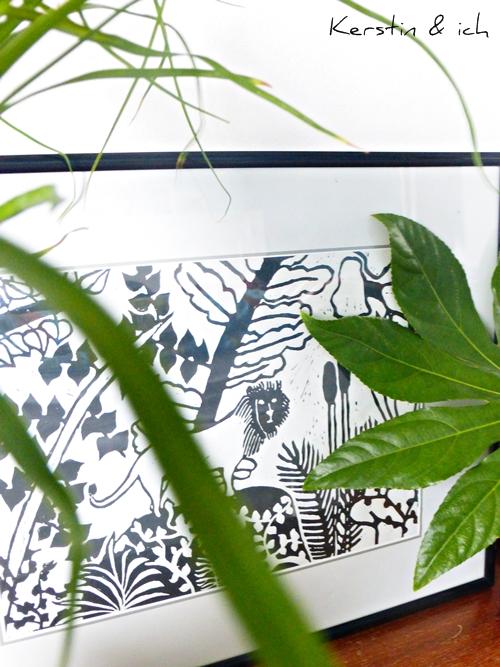 Dekoration Linoldruck black and white Pflanzen plants