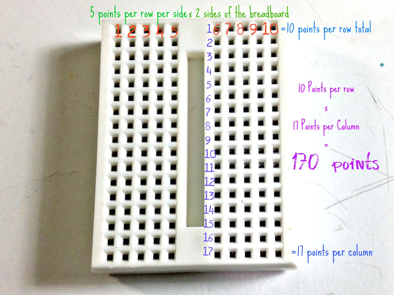 Breadboard Basics Lessons To Learn Electronics Circuit Diagram Tie Points