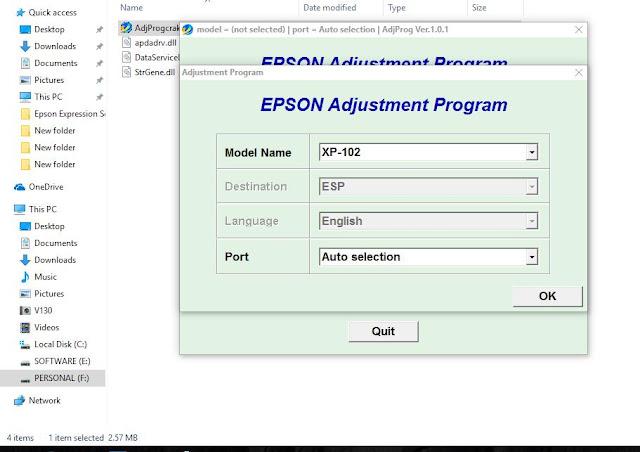 Epson Expression Home XP-102 Adjustment Program